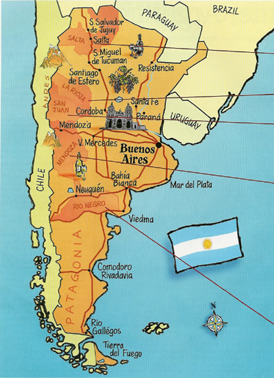 Wine Regions in Argentina: The wine regions are in a brown contrast
